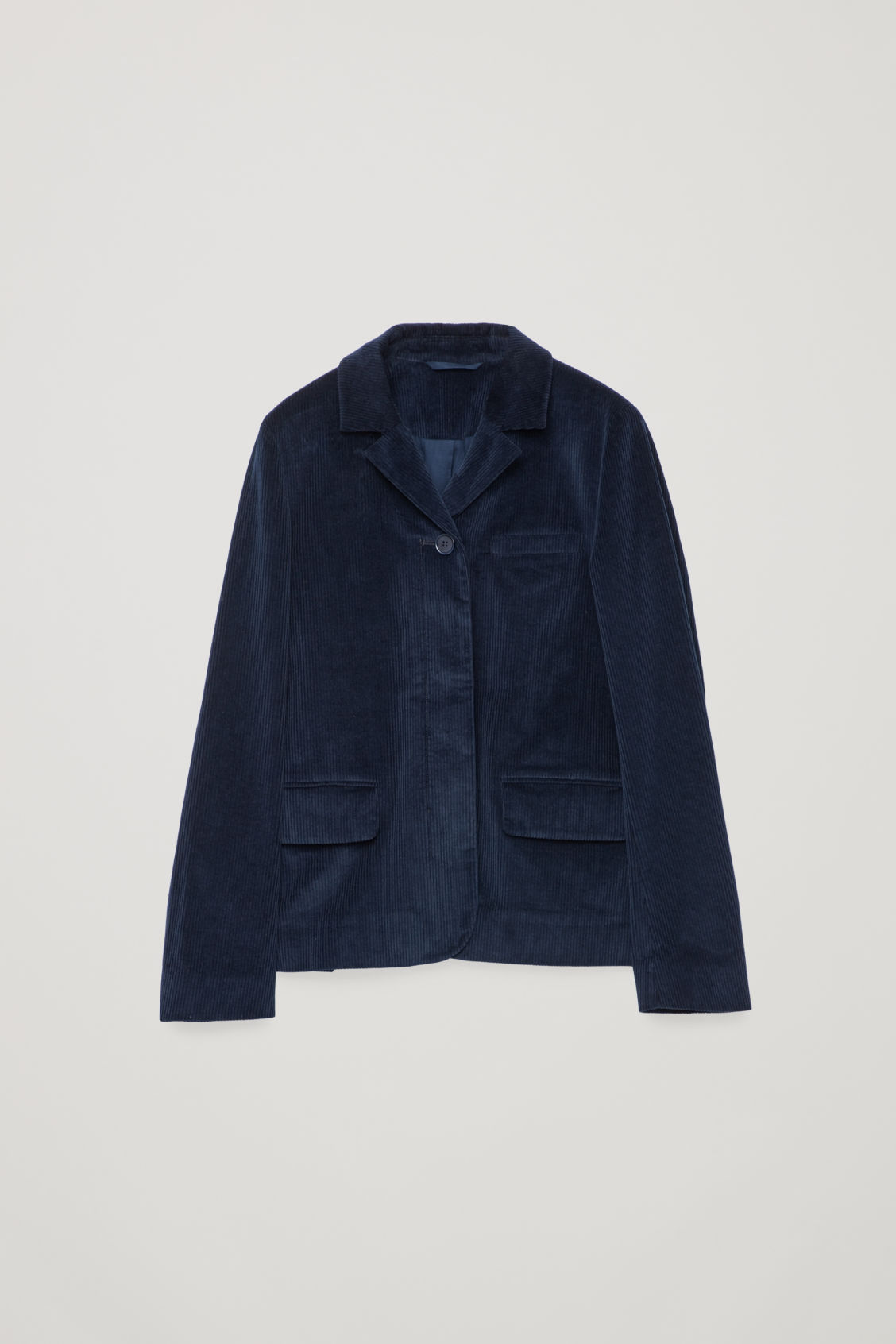 Front image of Cos workwear corduroy blazer in blue