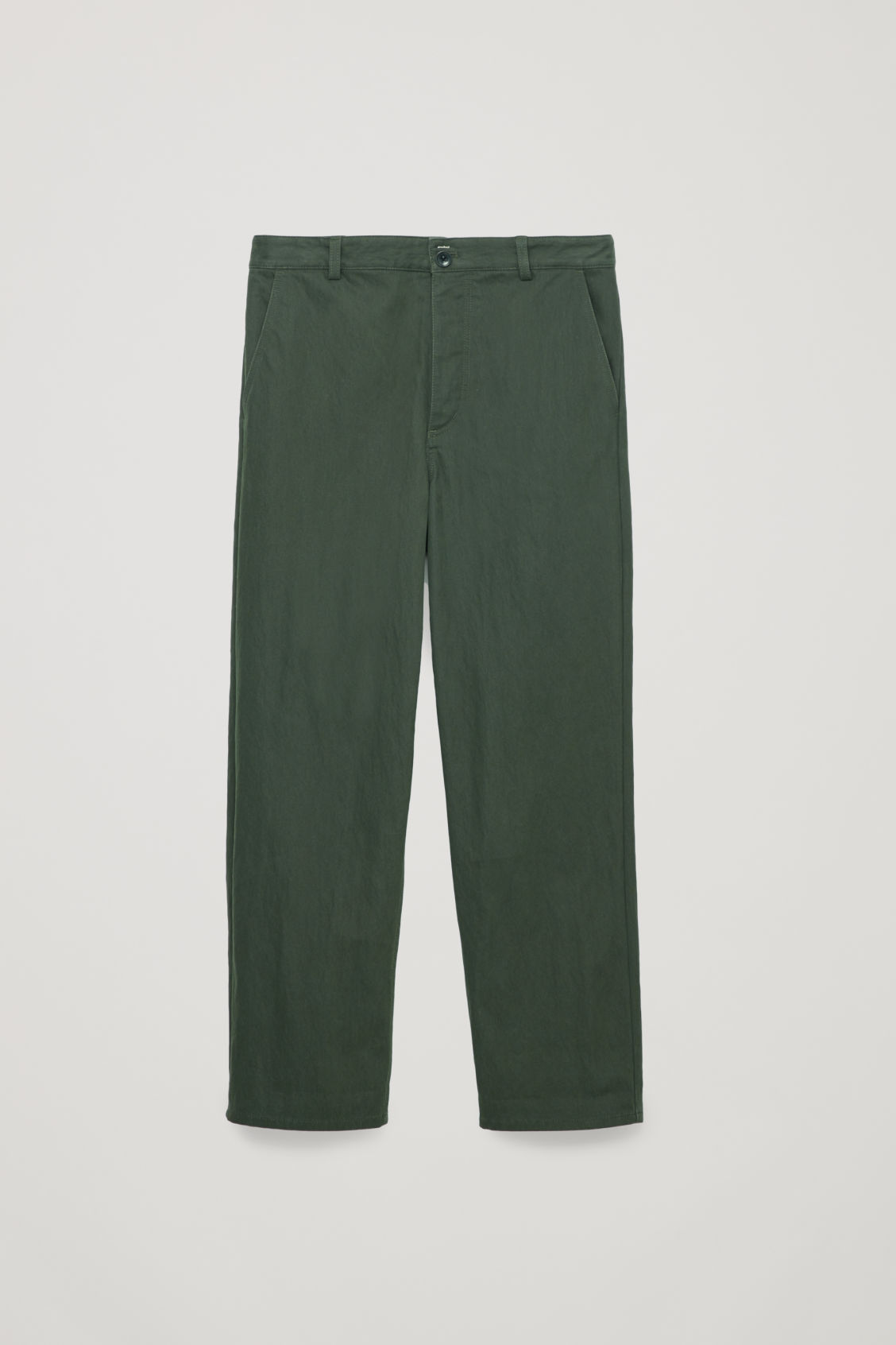 Front image of Cos relaxed button-up chinos in green