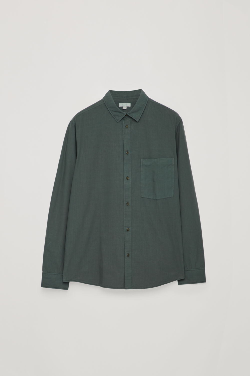 Front image of Cos washed-cotton shirt in green