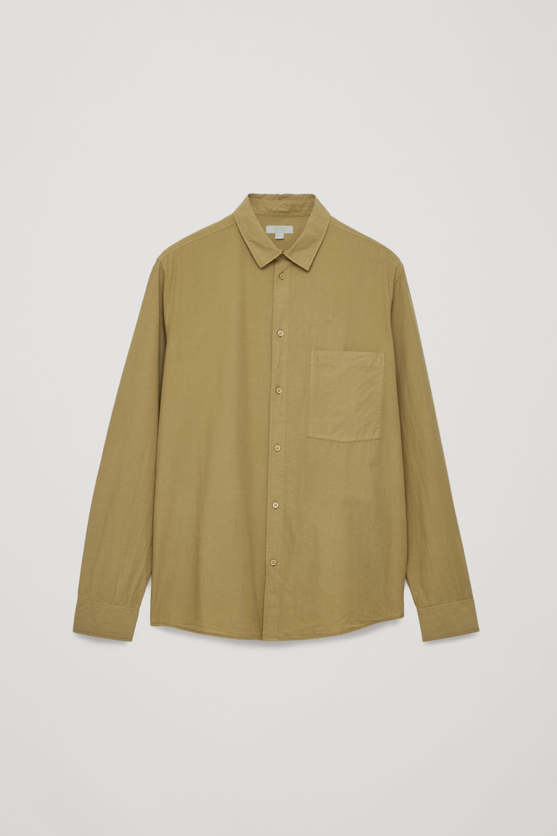 Front image of Cos washed-cotton shirt in yellow