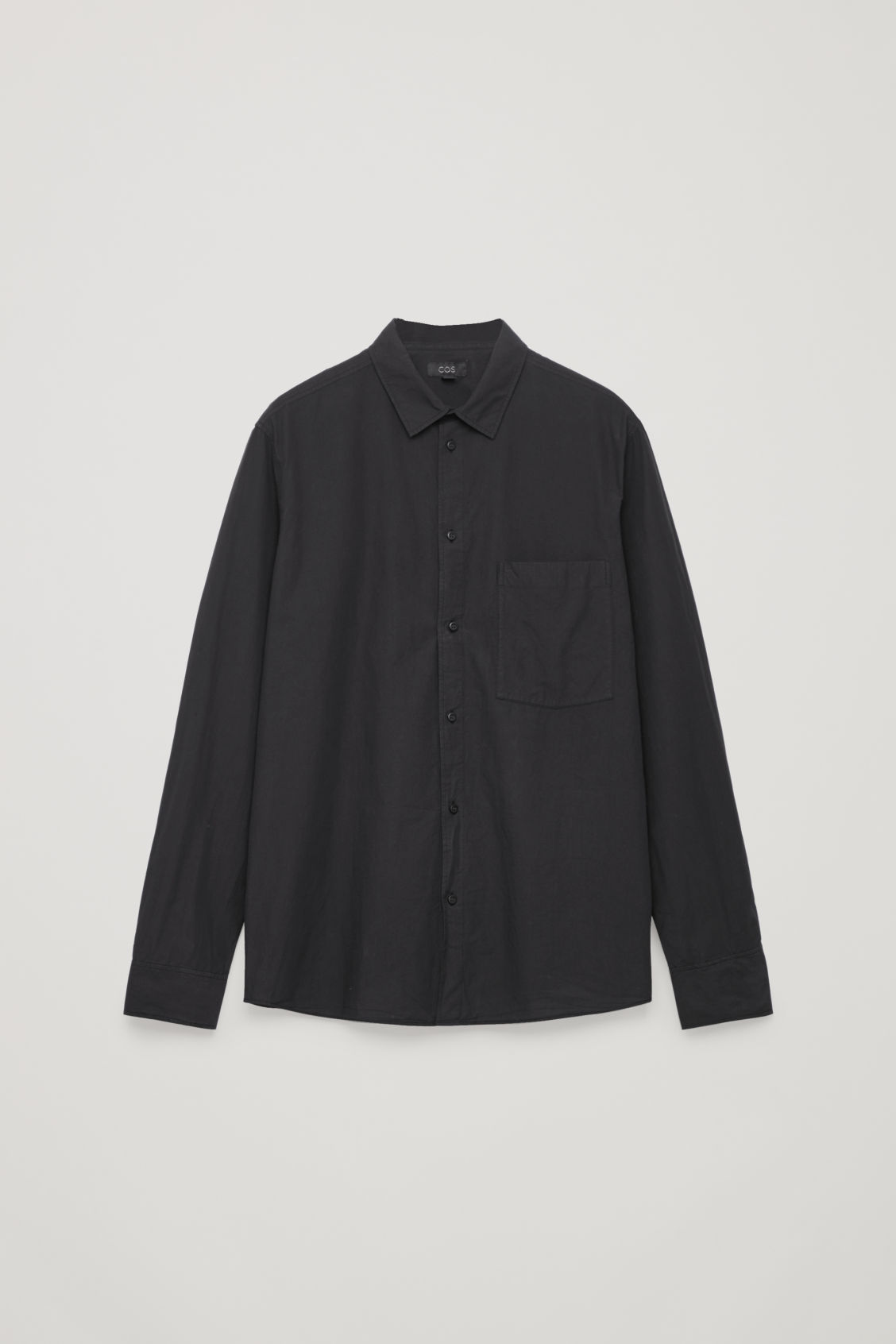 Front image of Cos washed-cotton shirt in black