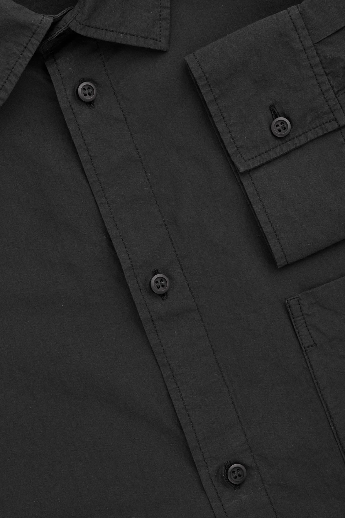 Side image of Cos washed-cotton shirt in black
