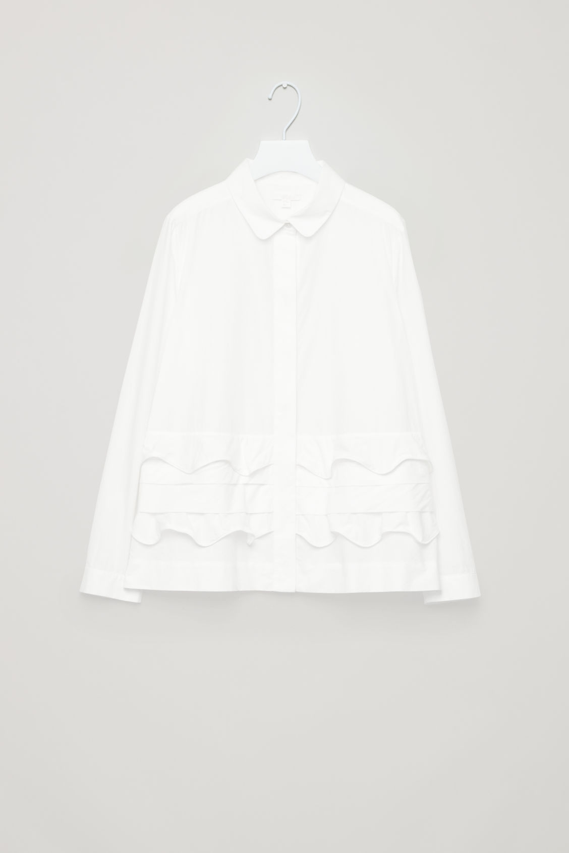 Front image of Cos scallop-trim layered shirt in white