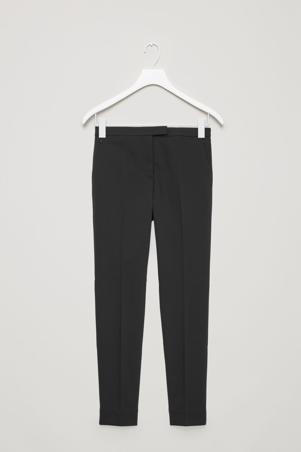 Front image of Cos skinny stretch-cotton trousers in black