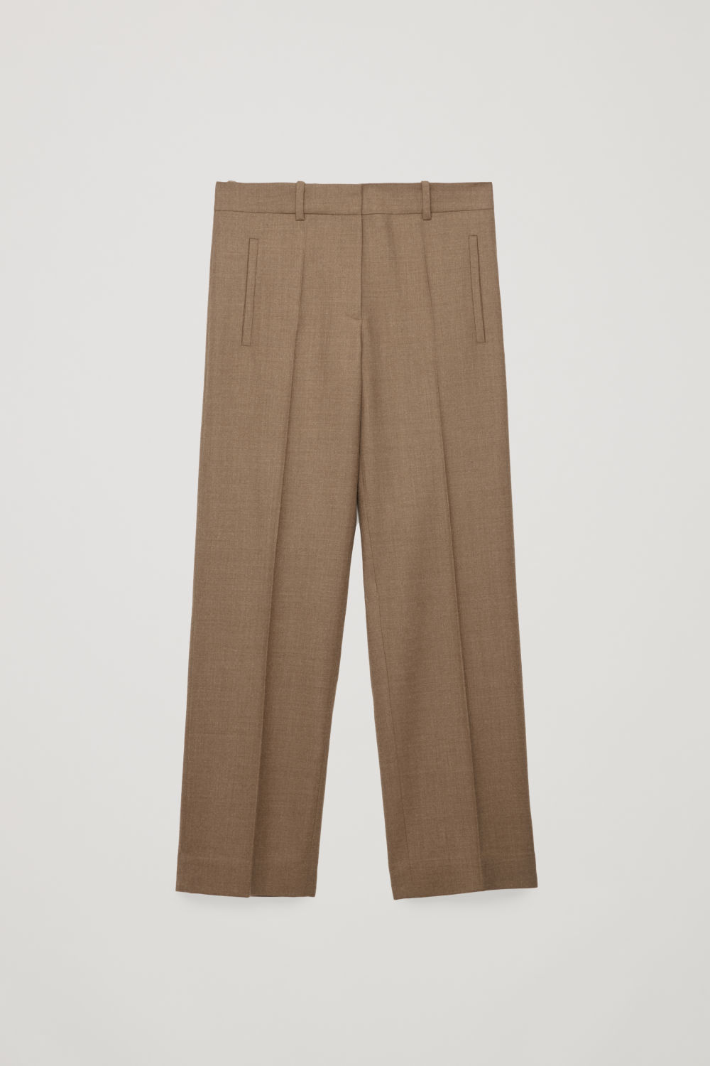 Front image of Cos wool straight-leg trousers in brown