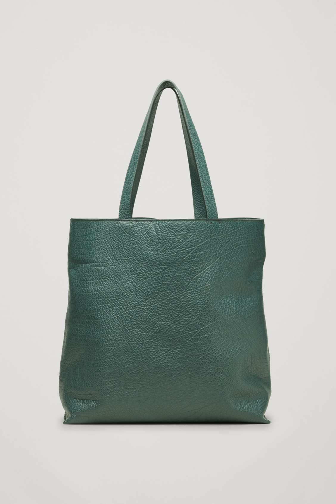 Front image of Cos detachable-pouch leather bag  in green
