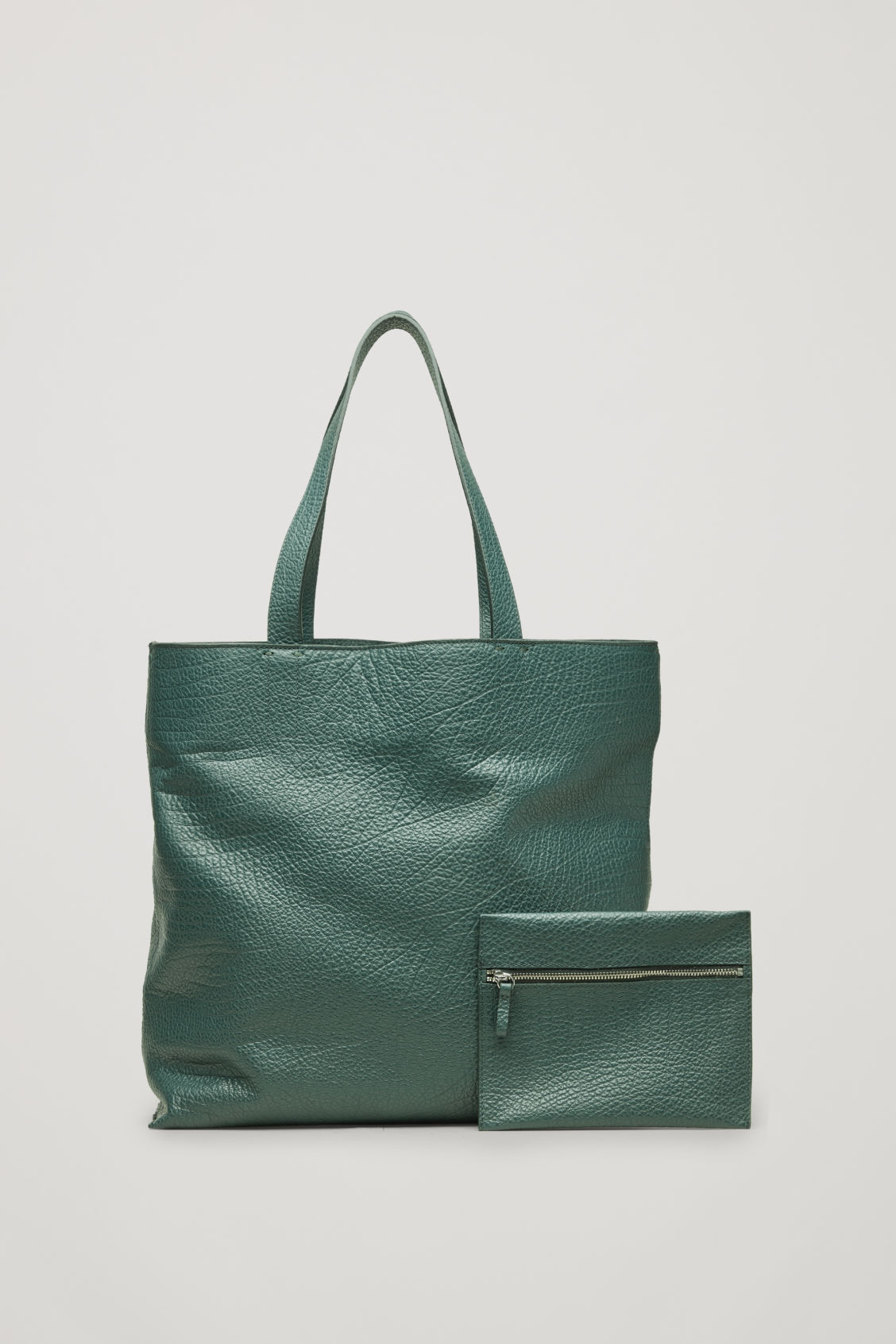 Side image of Cos detachable-pouch leather bag  in green
