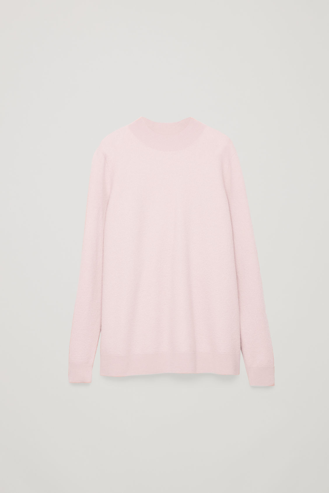 Front image of Cos bow-detailed wool jumper in pink