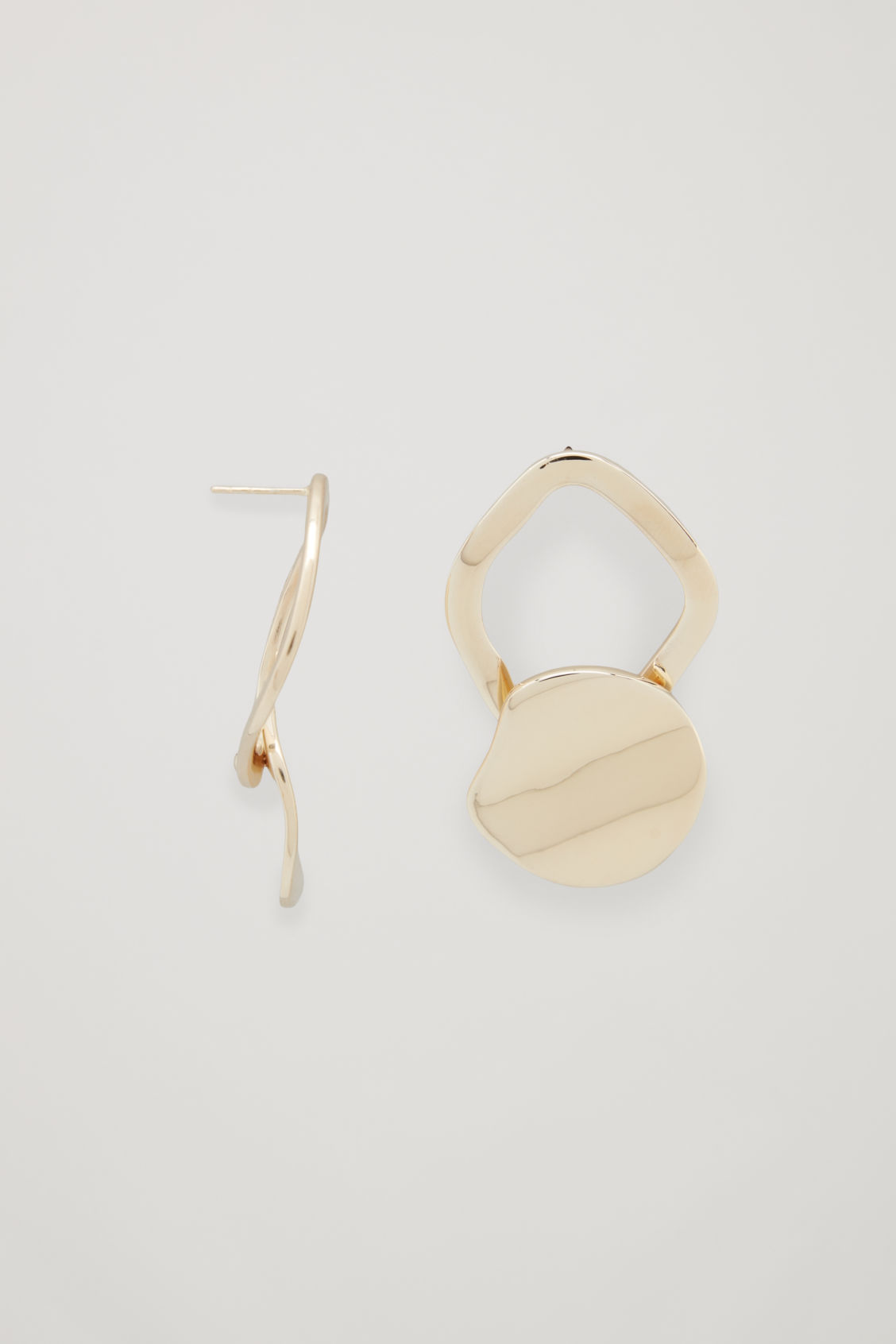 Side Image Of Cos Gold Plated Drop Earrings In