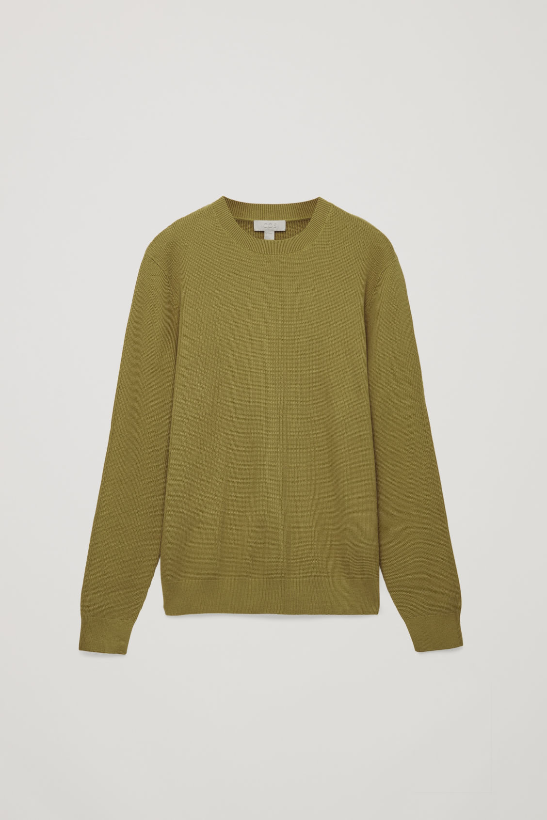 Front image of Cos moss-stitch knit jumper in yellow