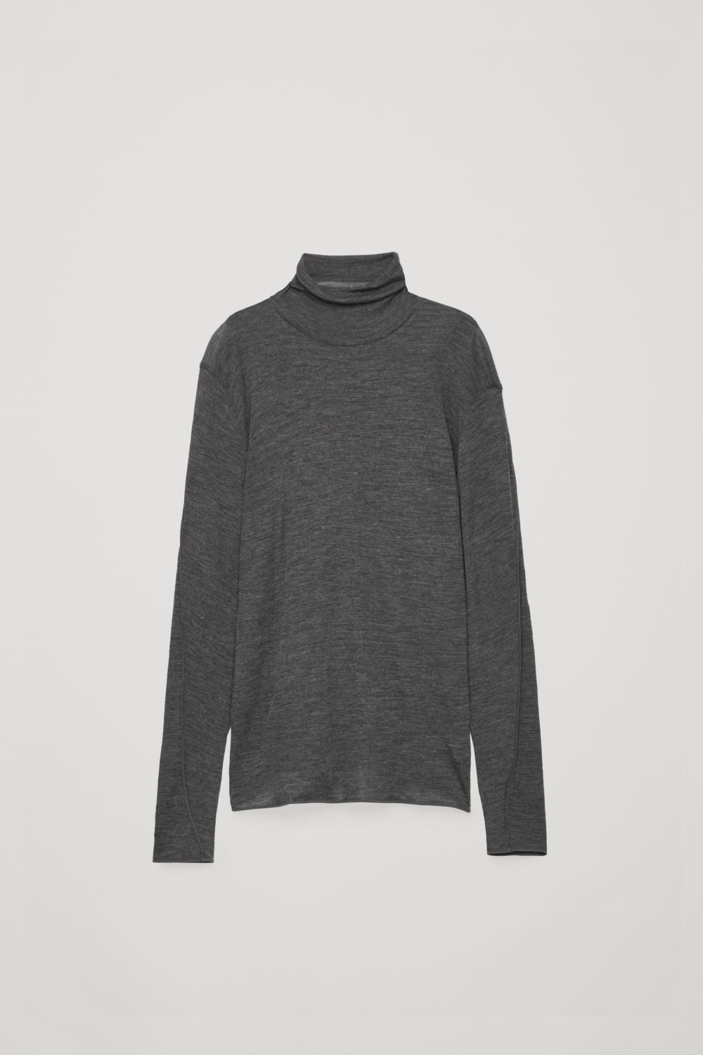Front image of Cos slim roll-neck jumper in grey