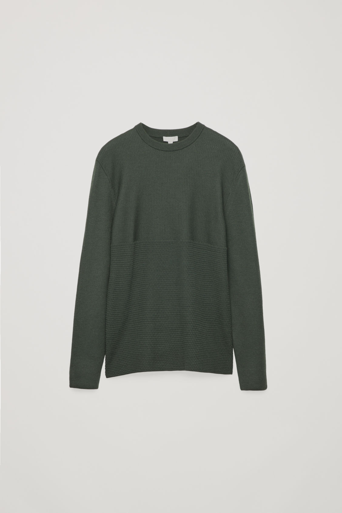 Front image of Cos jacquard-knit merino jumper in green