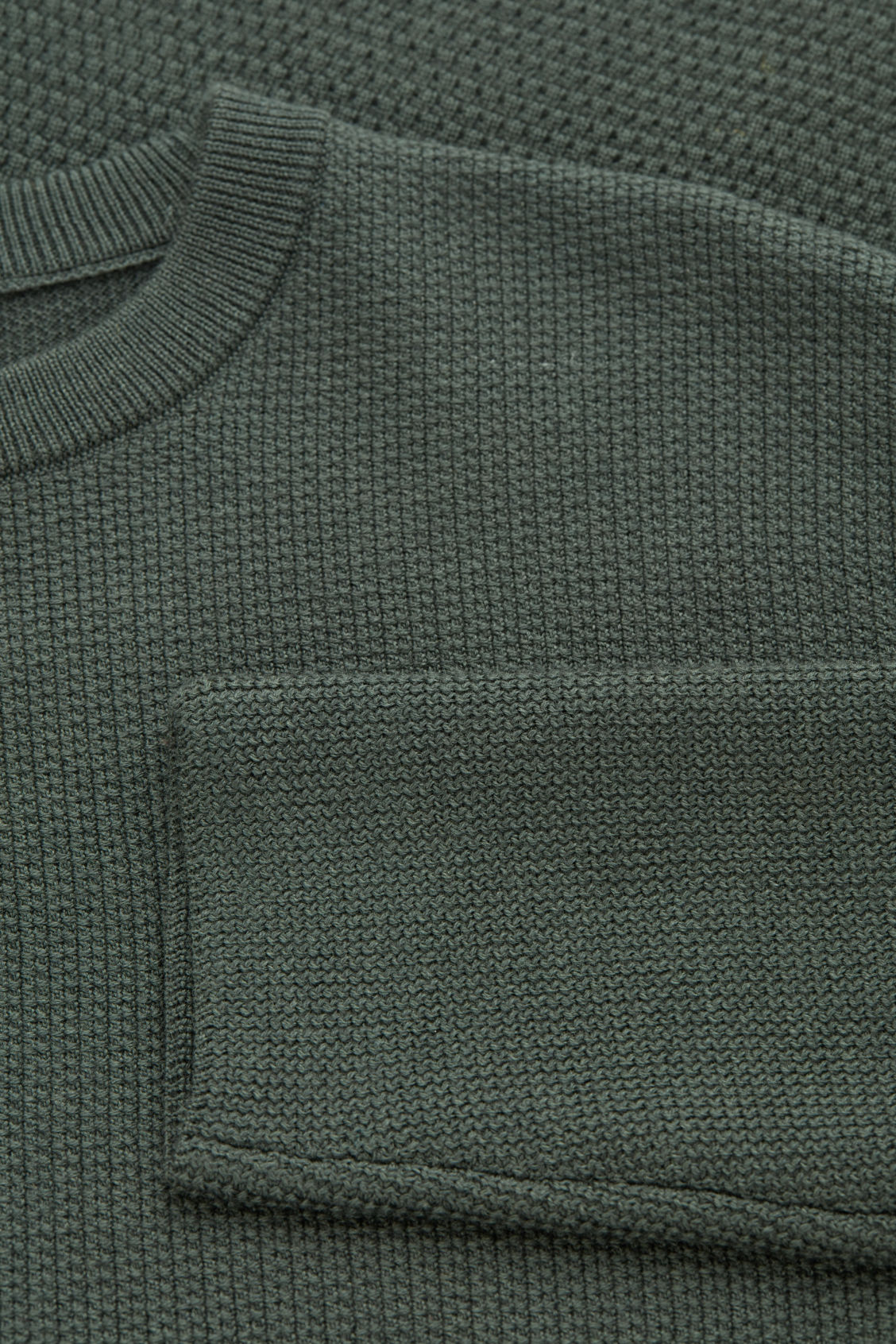 Side image of Cos jacquard-knit merino jumper in green