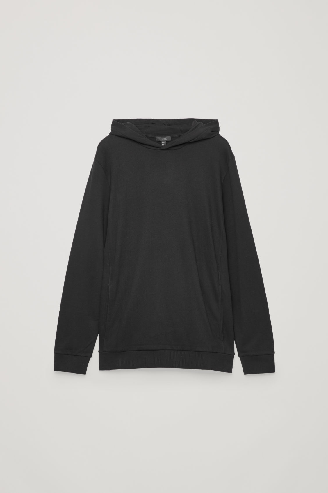 Front image of Cos cotton hooded jumper in black