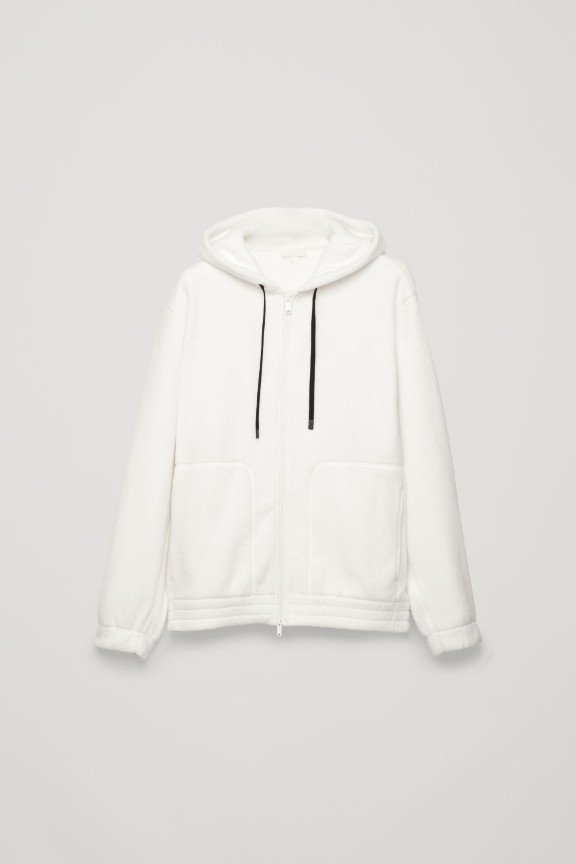 Front image of Cos oversized fleeced jacket in white