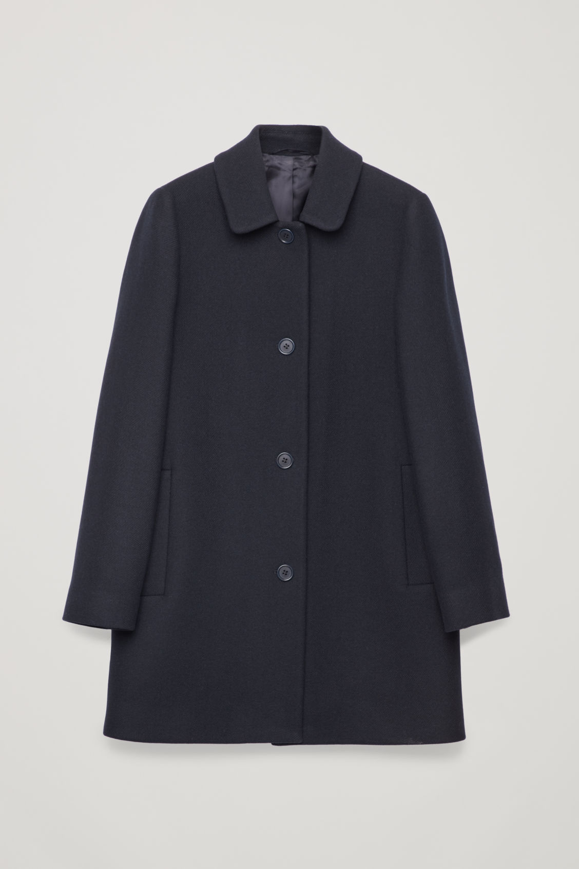 Front image of Cos straight wool coat in blue