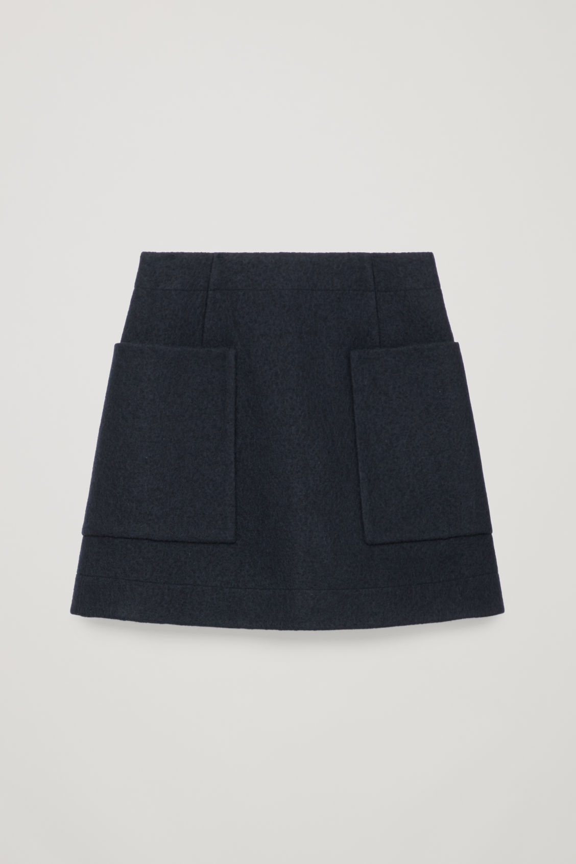 Front image of Cos boiled wool a-line skirt  in blue
