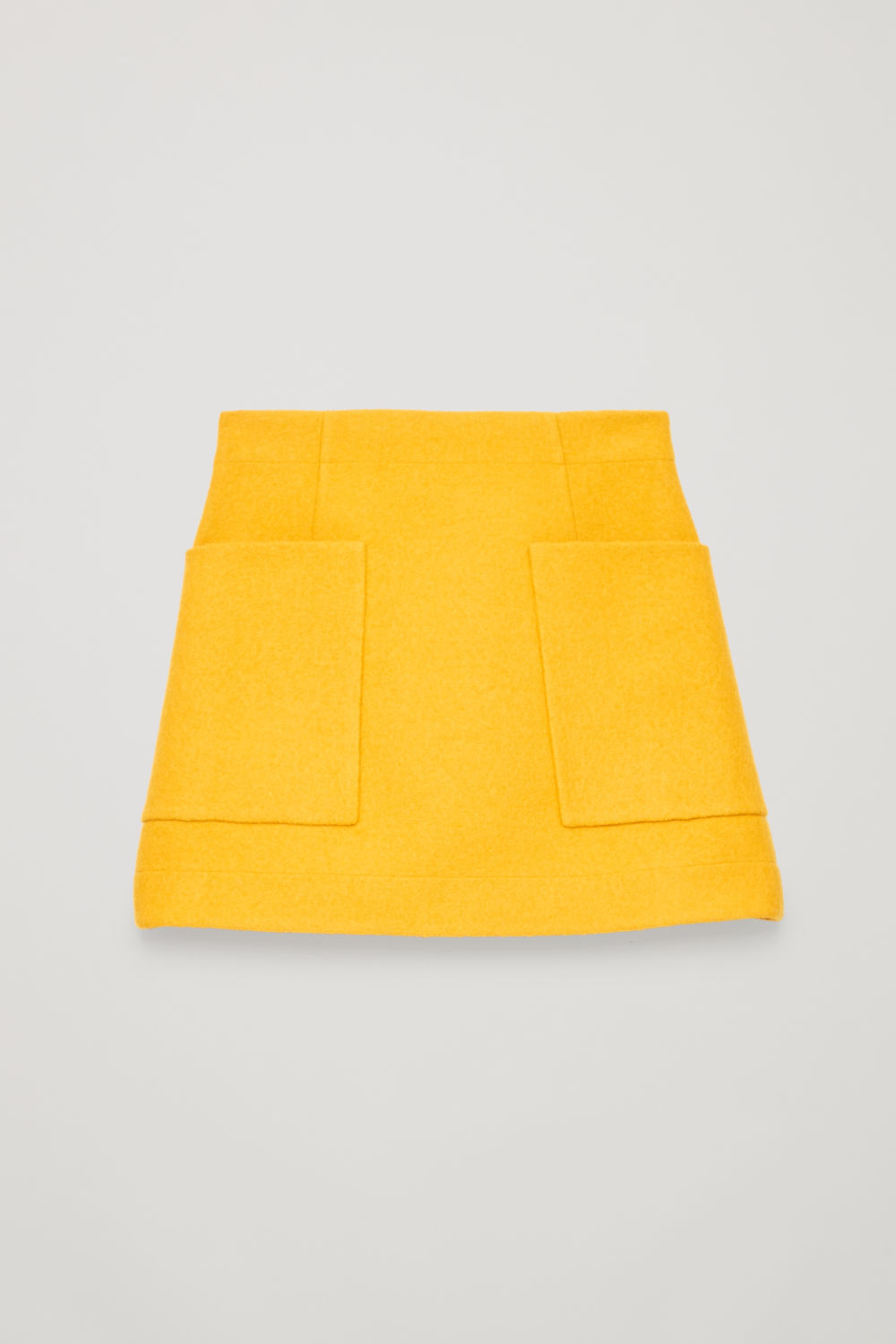 Front image of Cos boiled wool a-line skirt  in yellow