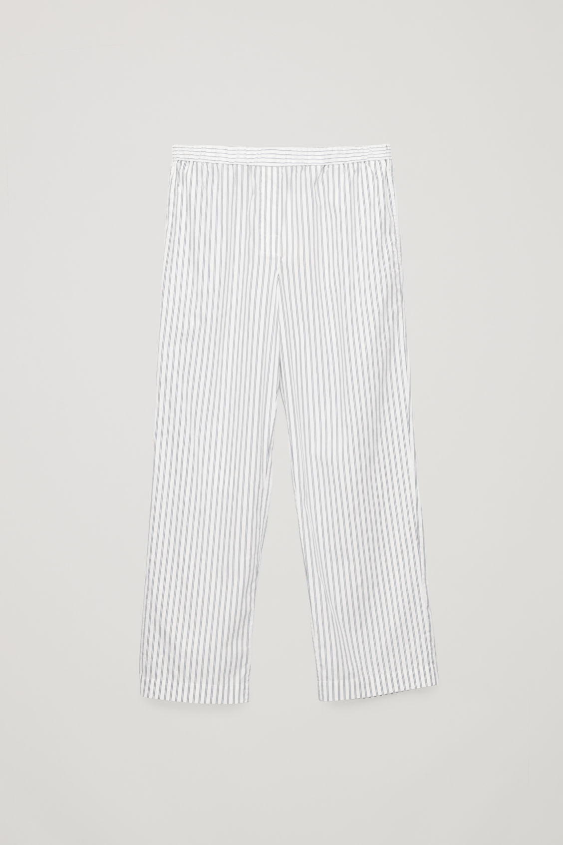 Front image of Cos slim striped pyjama trousers in blue