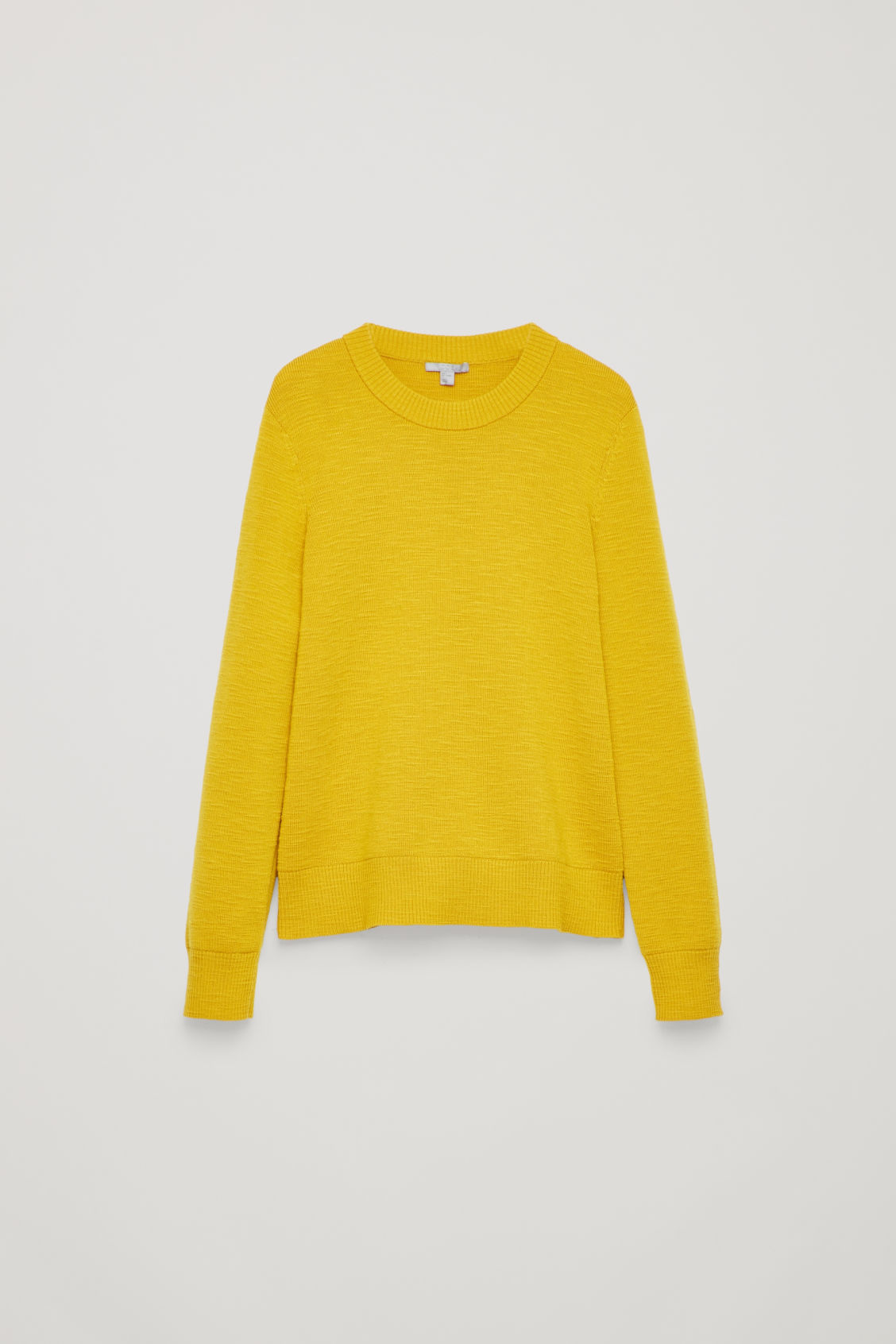 Front image of Cos ribbed merino-wool jumper in yellow