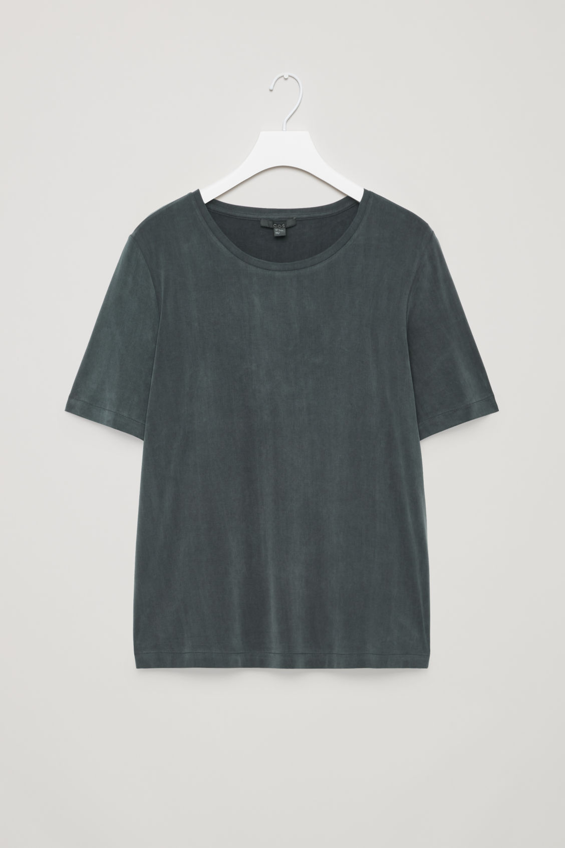Front image of Cos smooth round-neck t-shirt in black