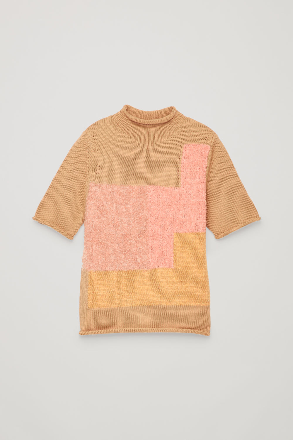 PATCHWORK WOOL-KNIT TOP