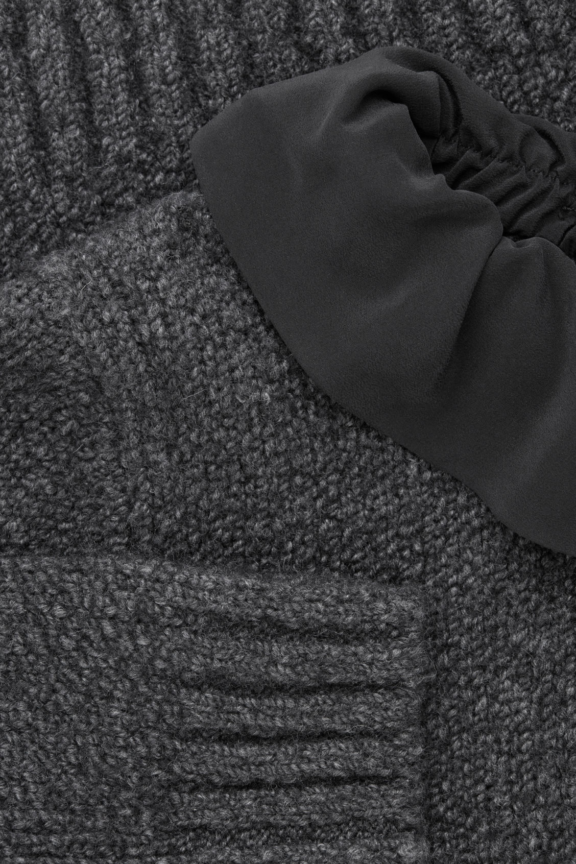 Side image of Cos removable-collar wool jumper in grey