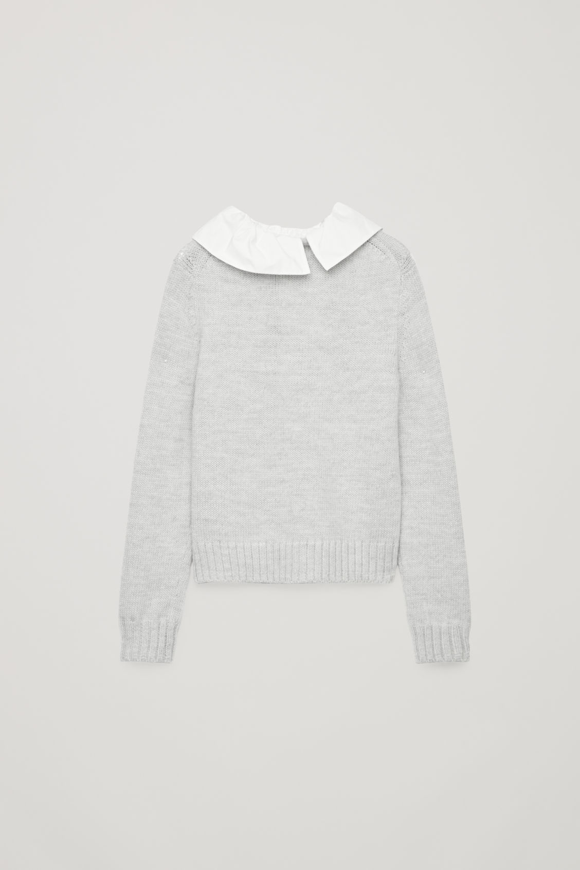 Front image of Cos removable-collar wool jumper in grey
