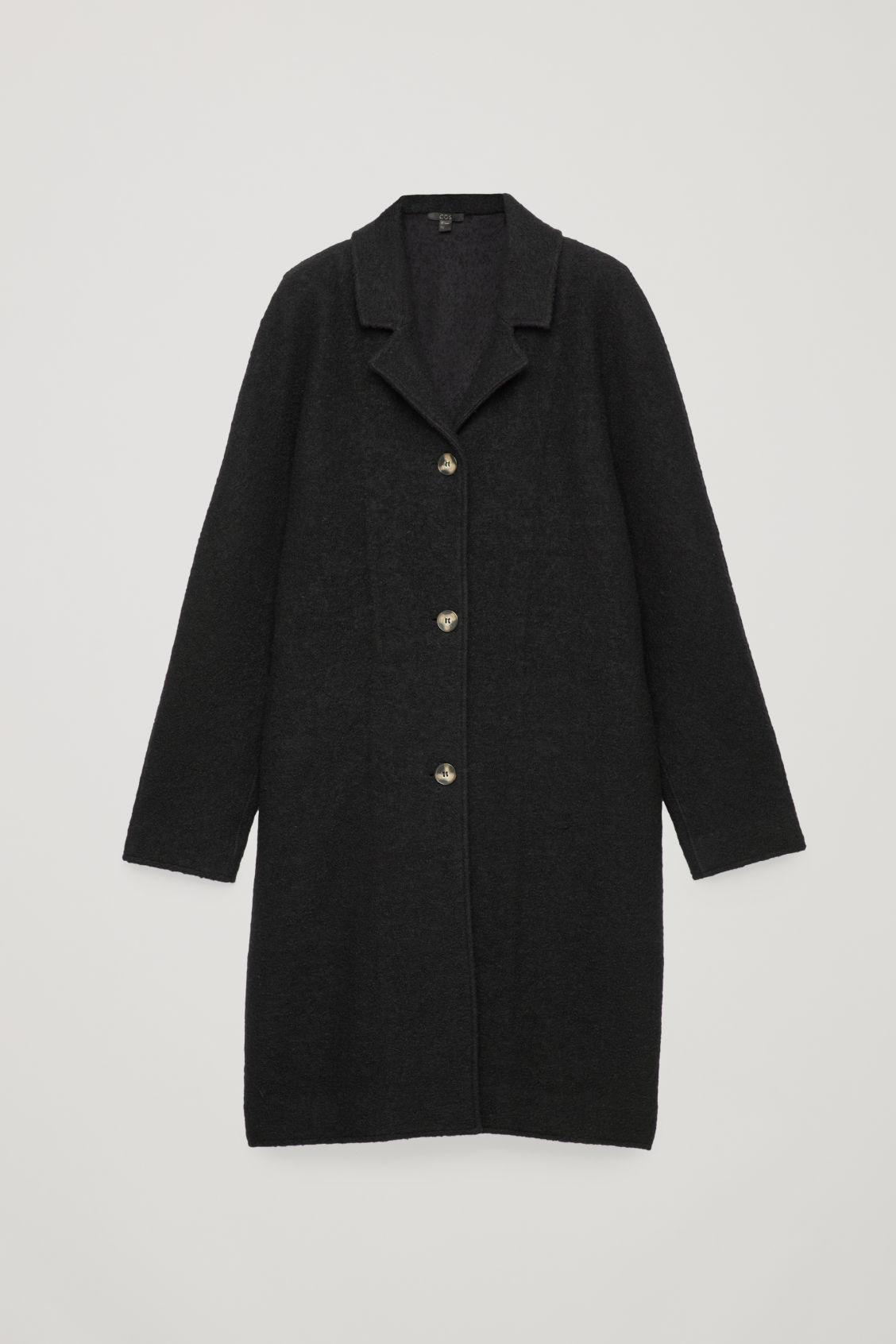 Front image of Cos single-breasted jersey car coat in black