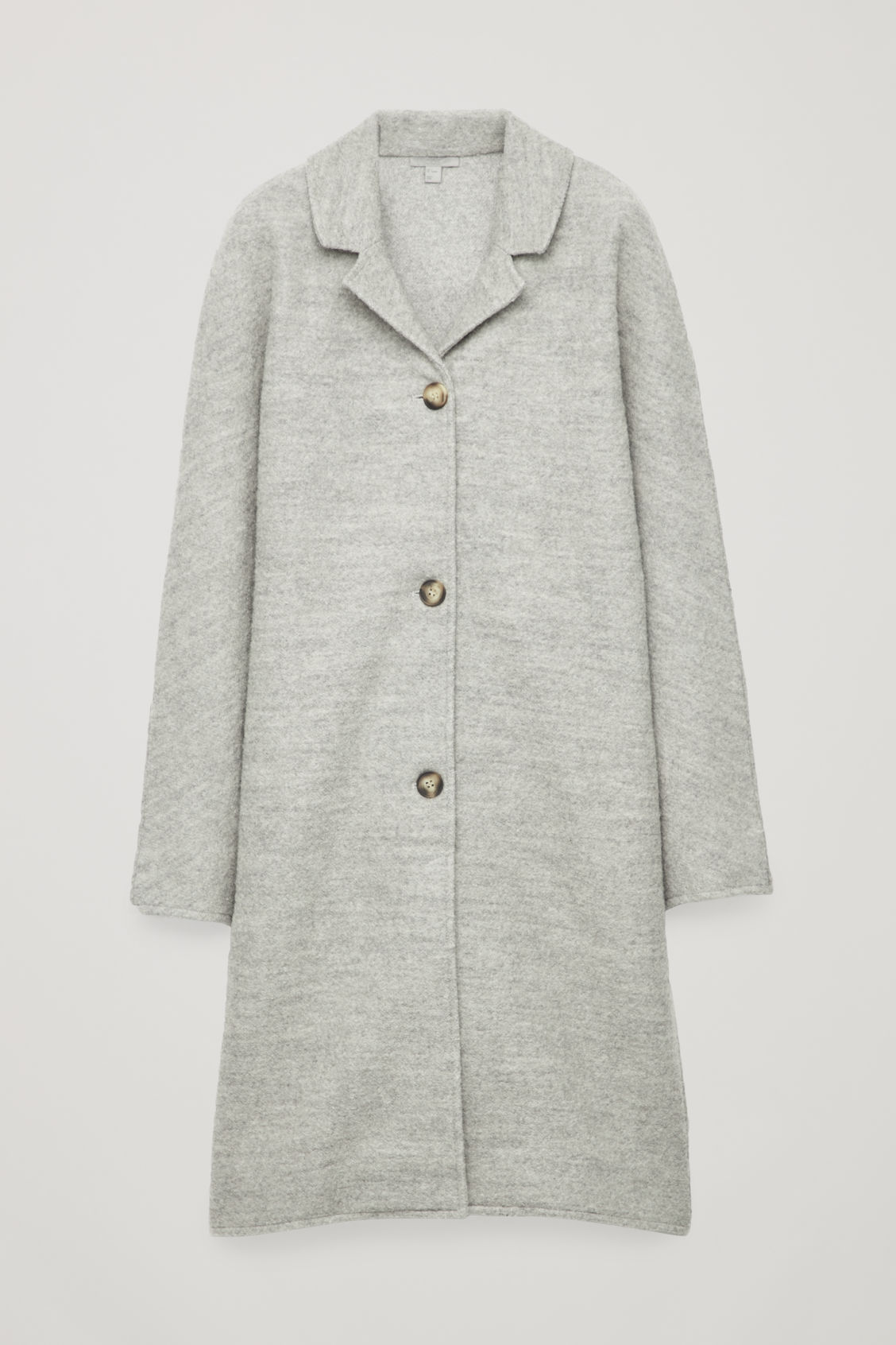 Front image of Cos single-breasted jersey car coat in grey