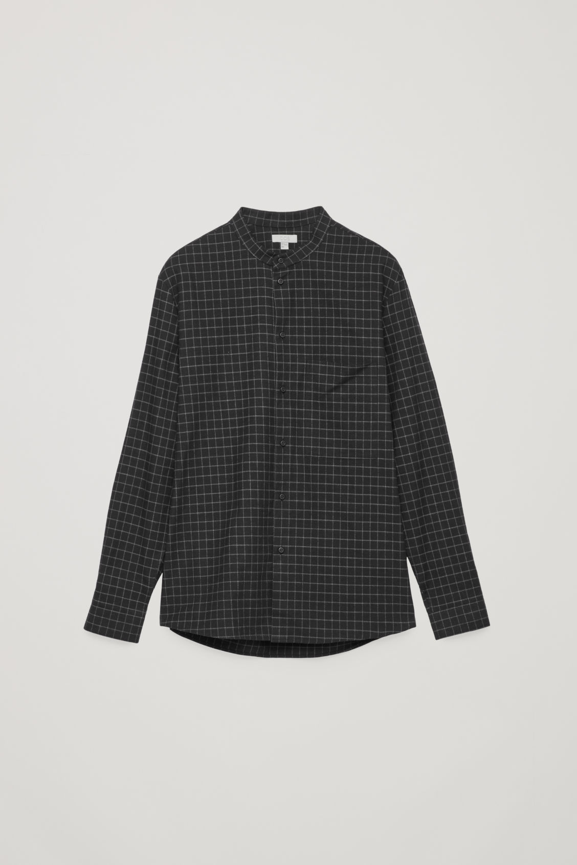 Front image of Cos checked grandad-collar shirt in black