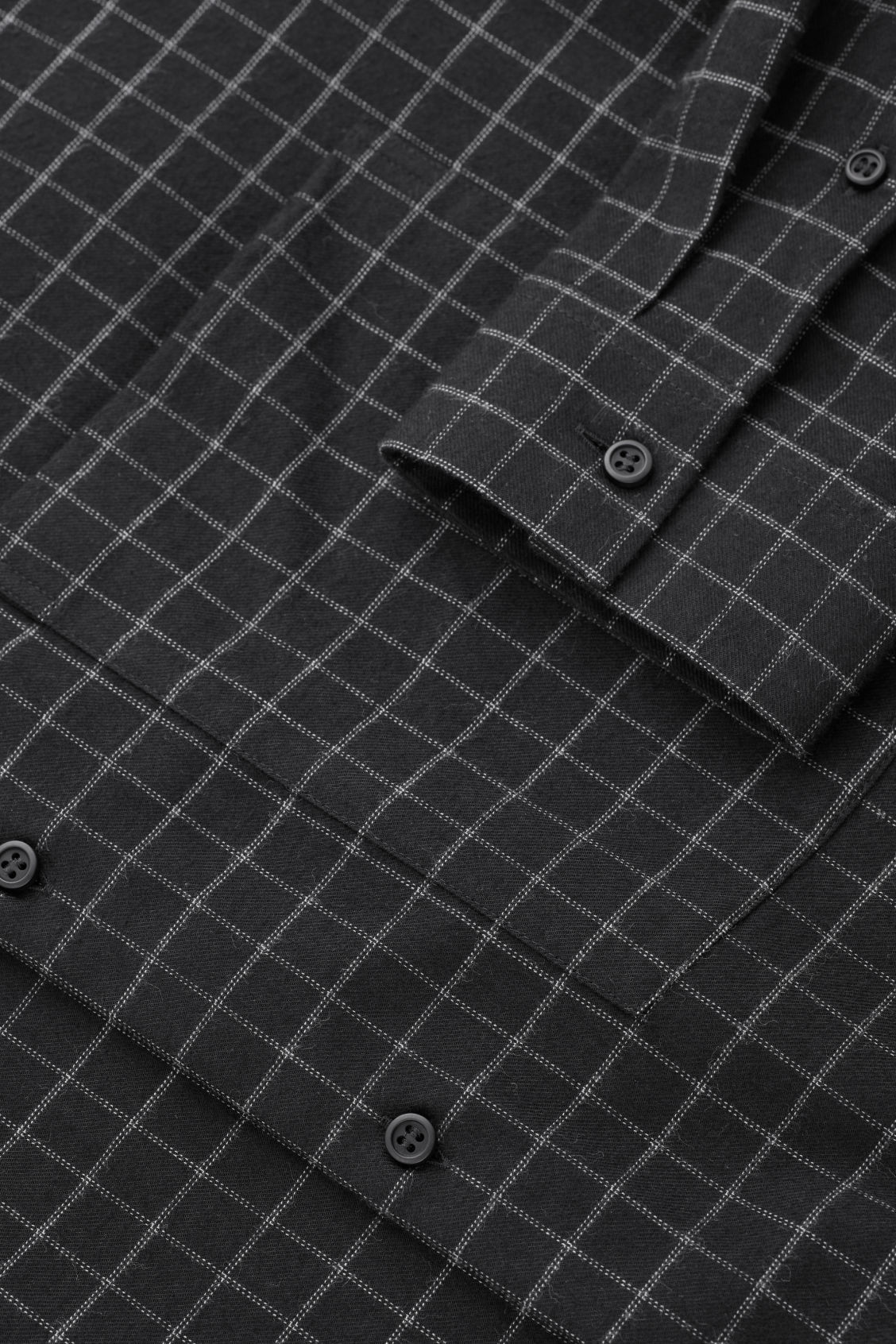 Side image of Cos checked grandad-collar shirt in black
