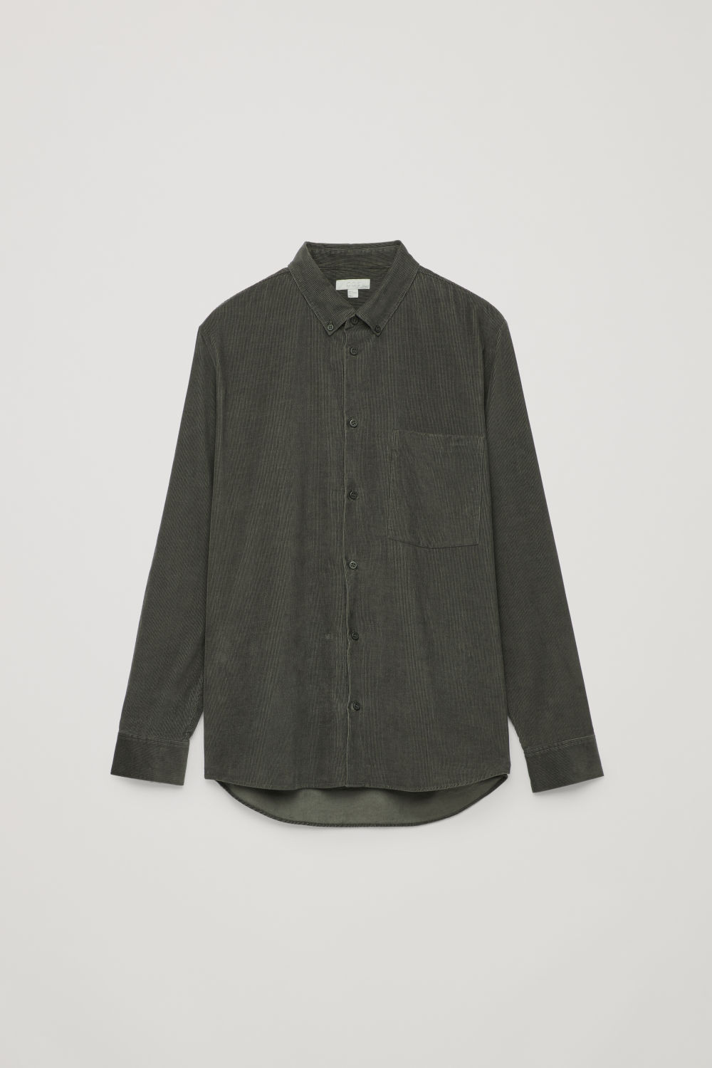 Front image of Cos corduroy shirt in grey