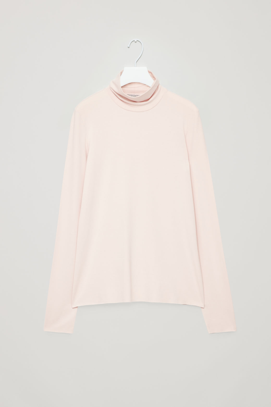 Front image of Cos jersey roll-neck top in pink