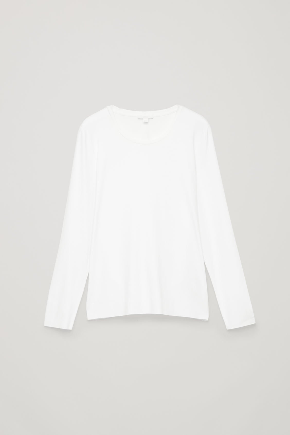 Front image of Cos long-sleeved jersey top in white