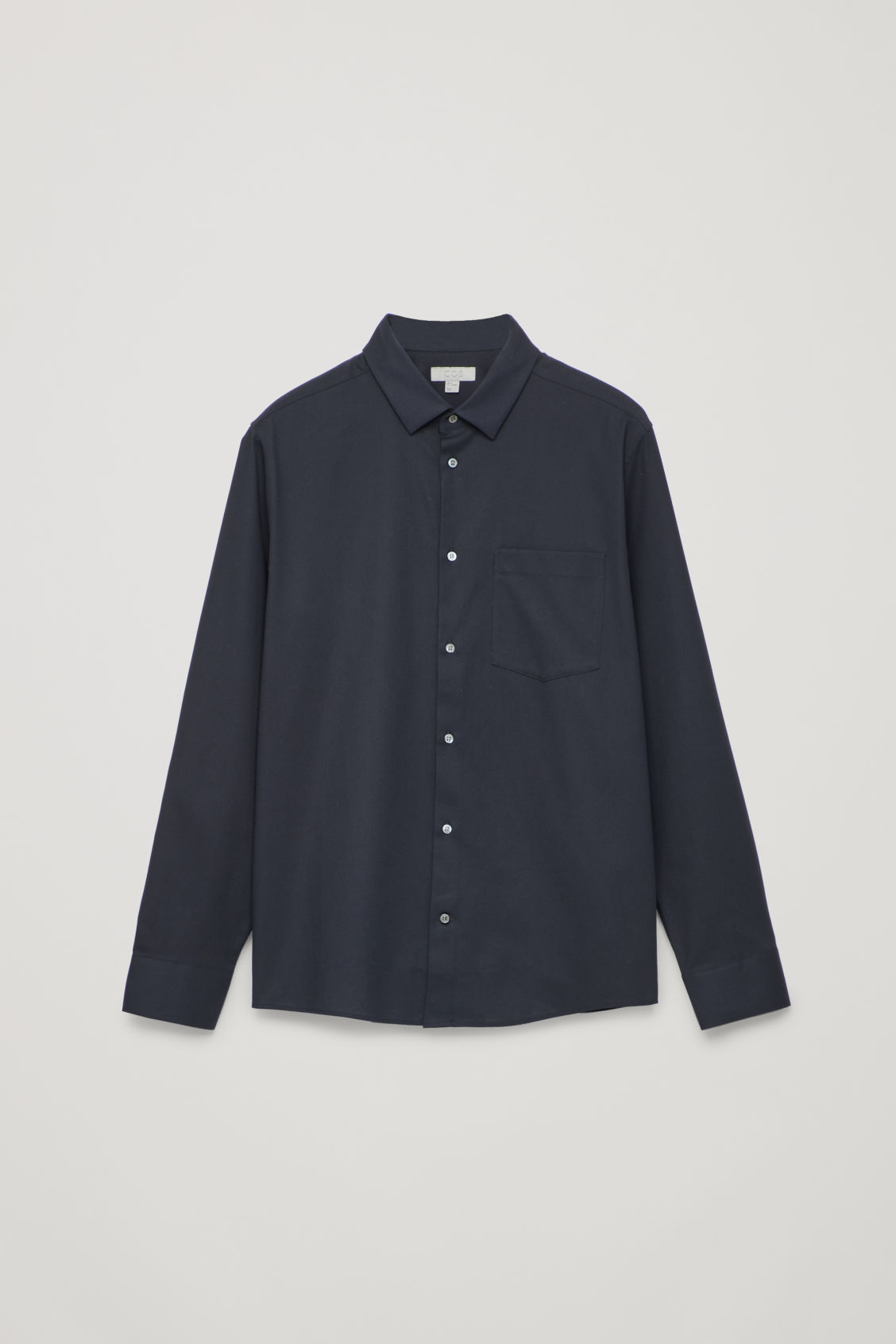 Front image of Cos long-sleeved cotton shirt in blue