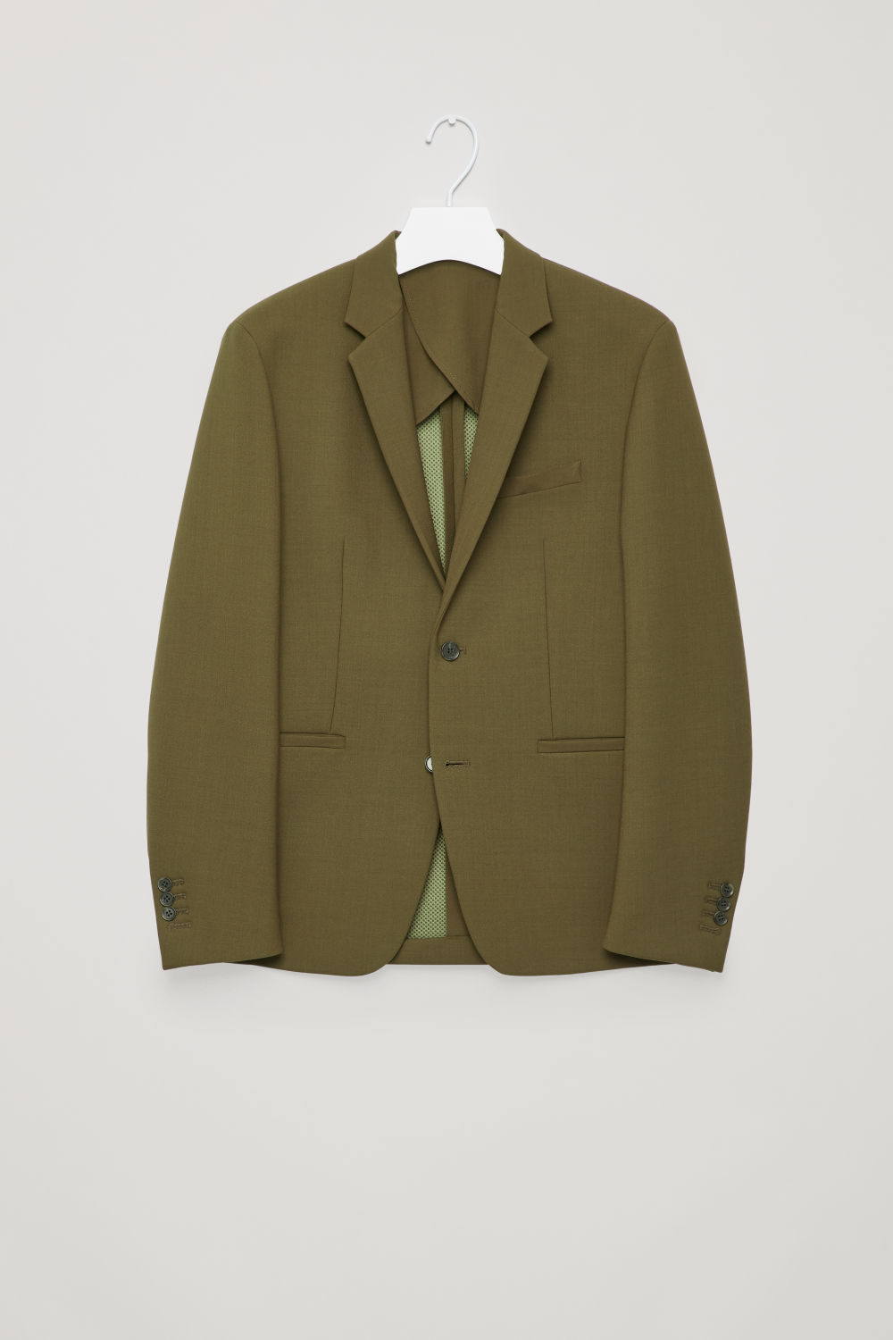 Front image of Cos padded slim fit blazer in green