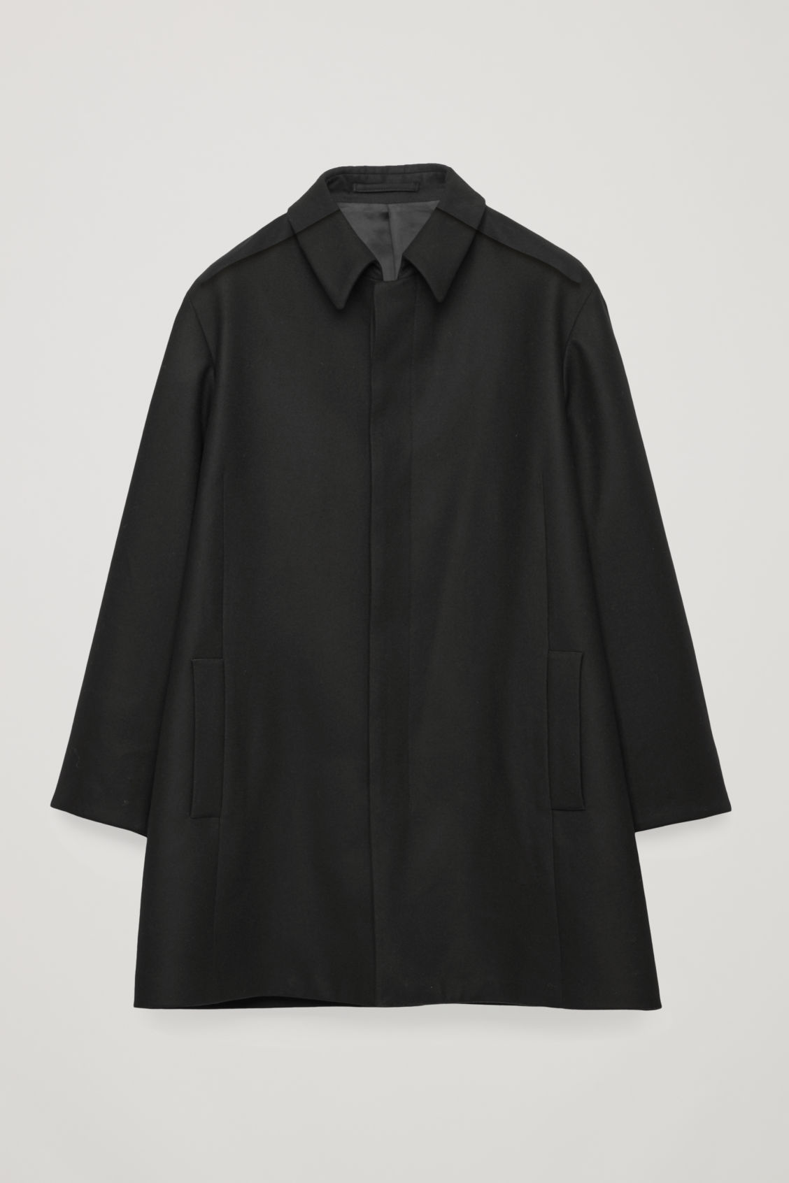 Front image of Cos single-breasted wool mac in black