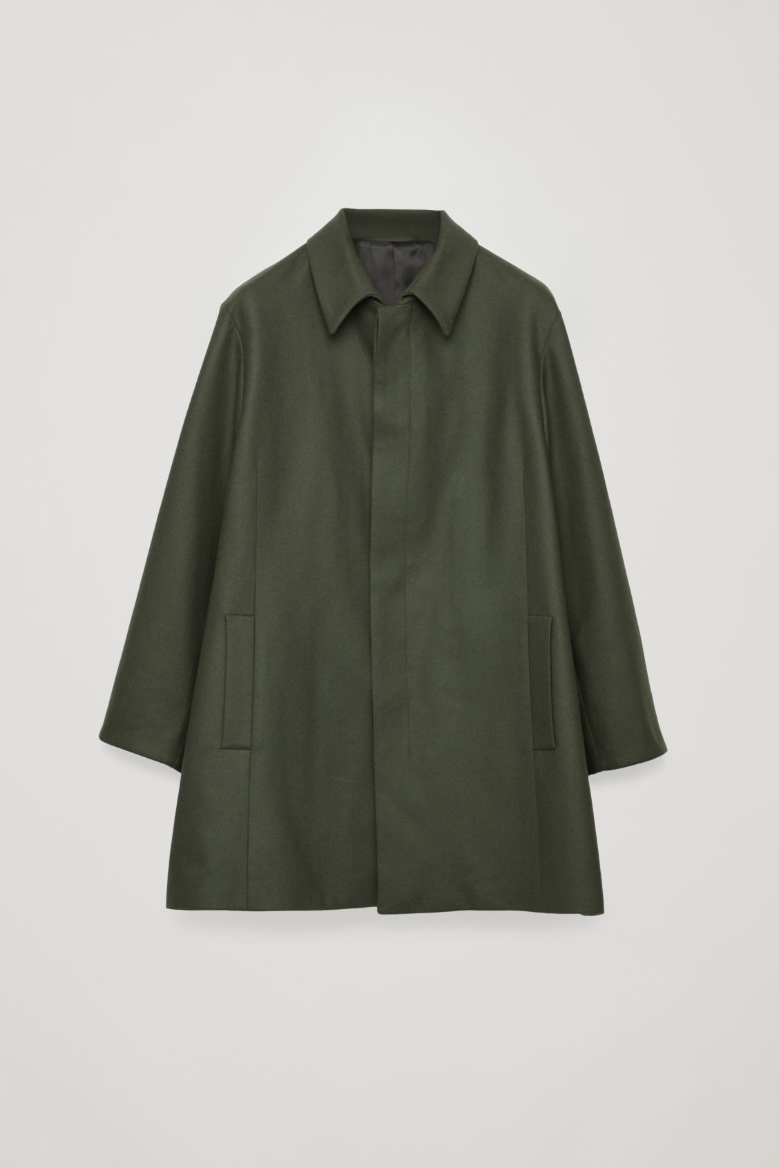 Front image of Cos single-breasted wool mac in green