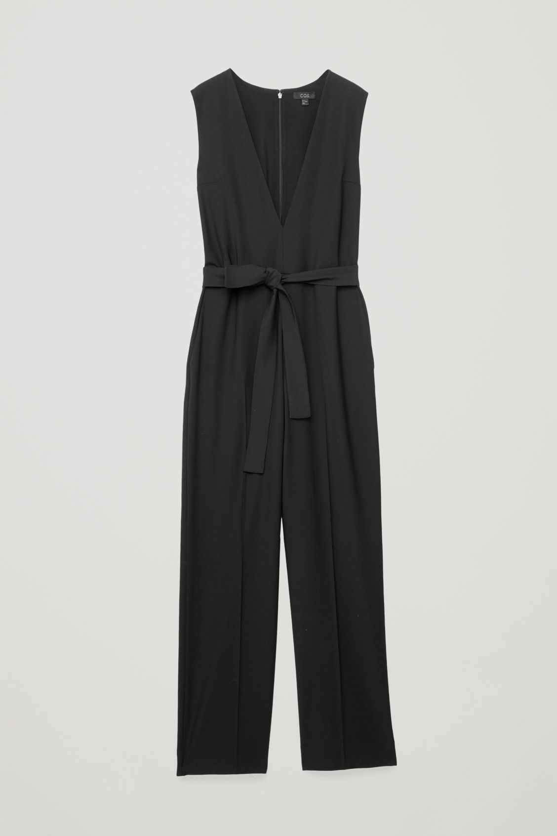 Front image of Cos deep v-neck tailored jumpsuit  in black