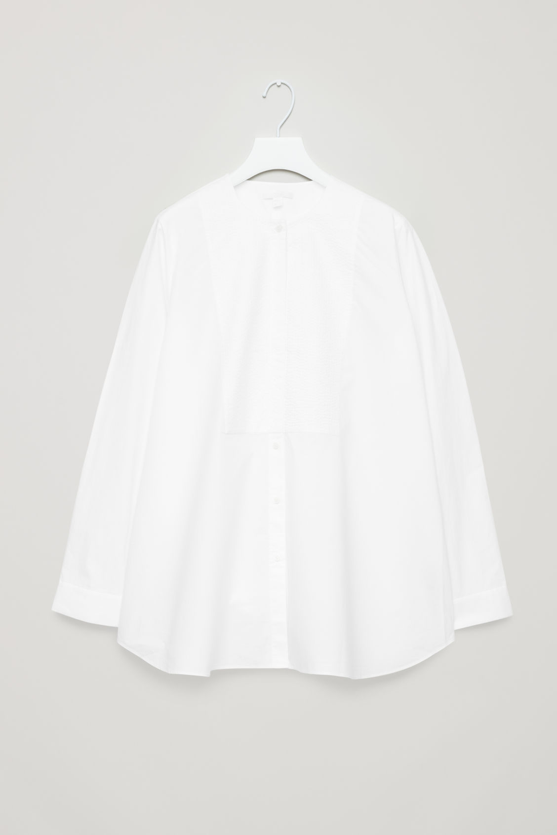 Front image of Cos quilted bib-front shirt in white