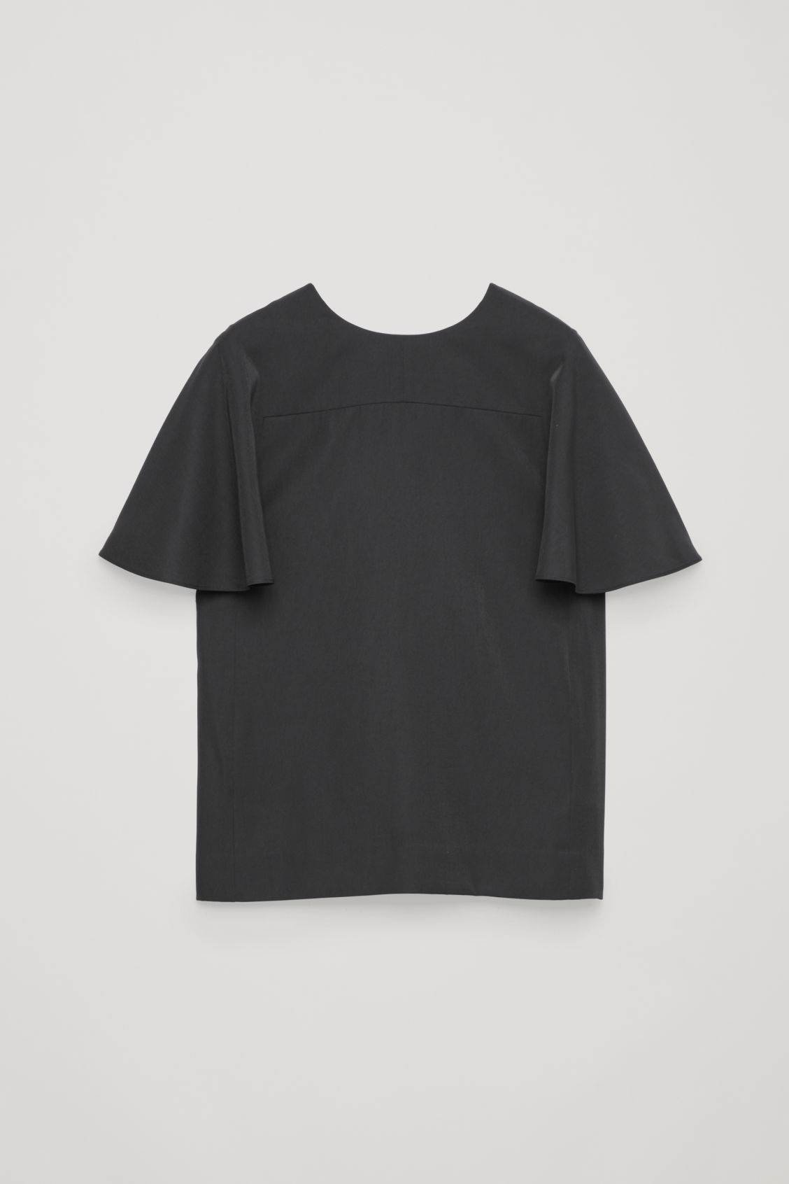 Front image of Cos light round-neck top in black