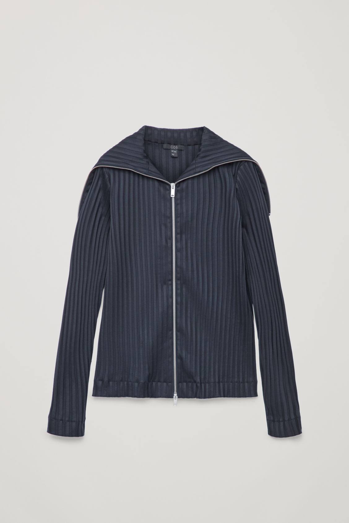 Front image of Cos zip-up top with large collar in blue