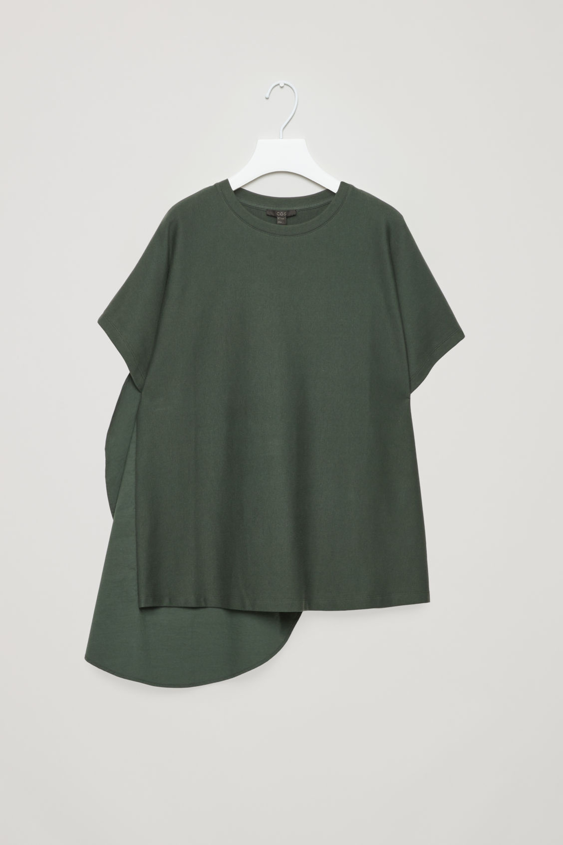 Front image of Cos circle-panelled t-shirt in green