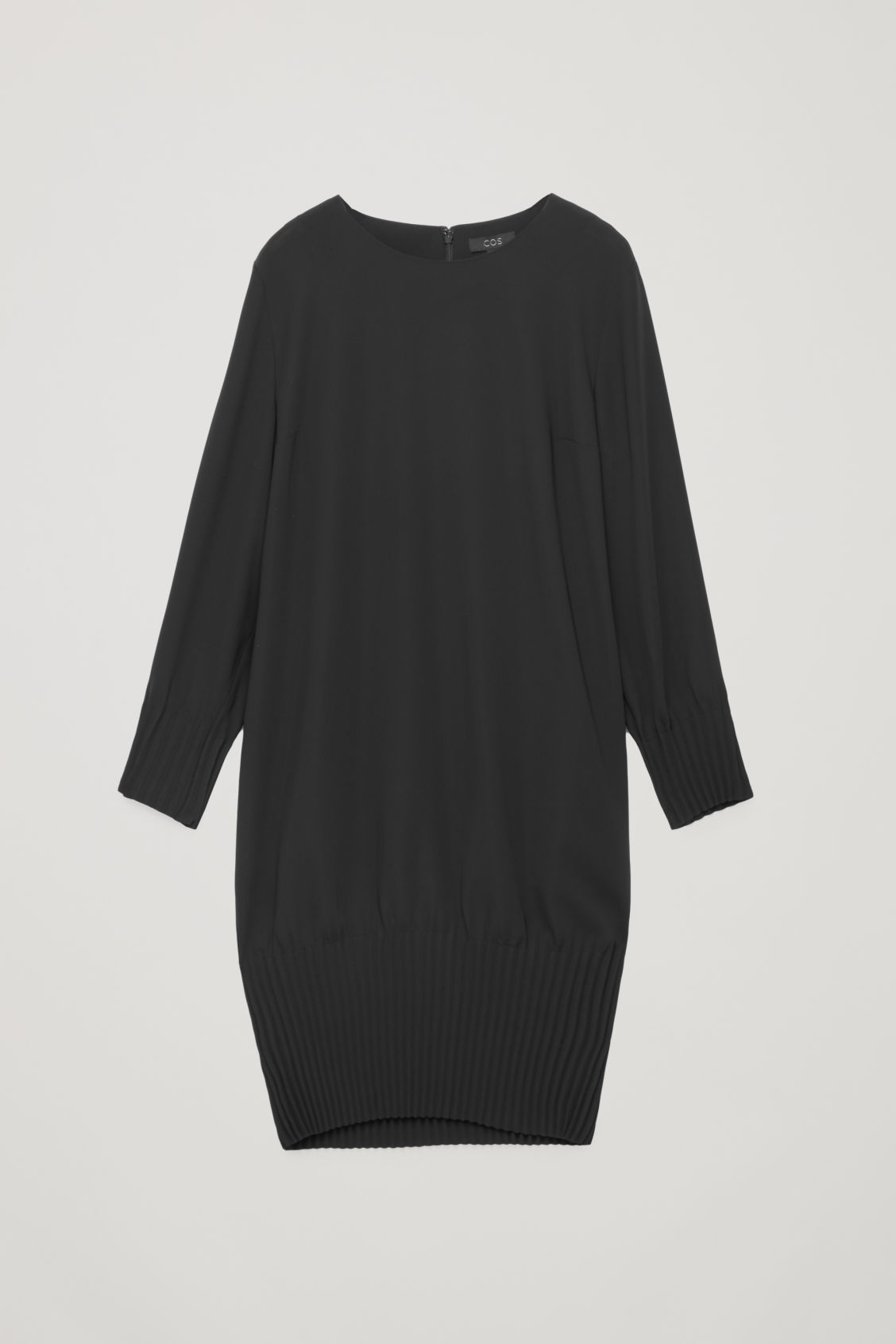 Front image of Cos pleated dress in black