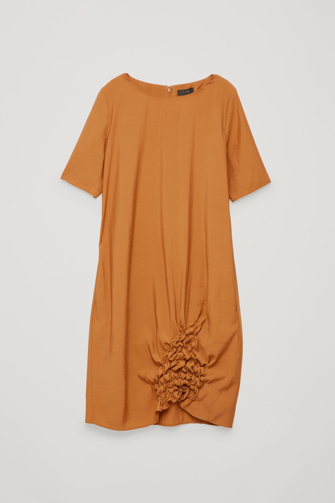 Front image of Cos dress with gathered hem in orange