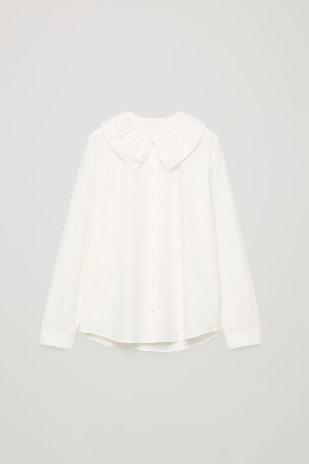 Front image of Cos gathered-collar cotton shirt in neutral