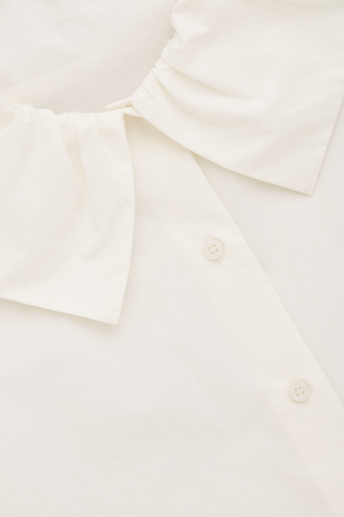 Side image of Cos gathered-collar cotton shirt in neutral