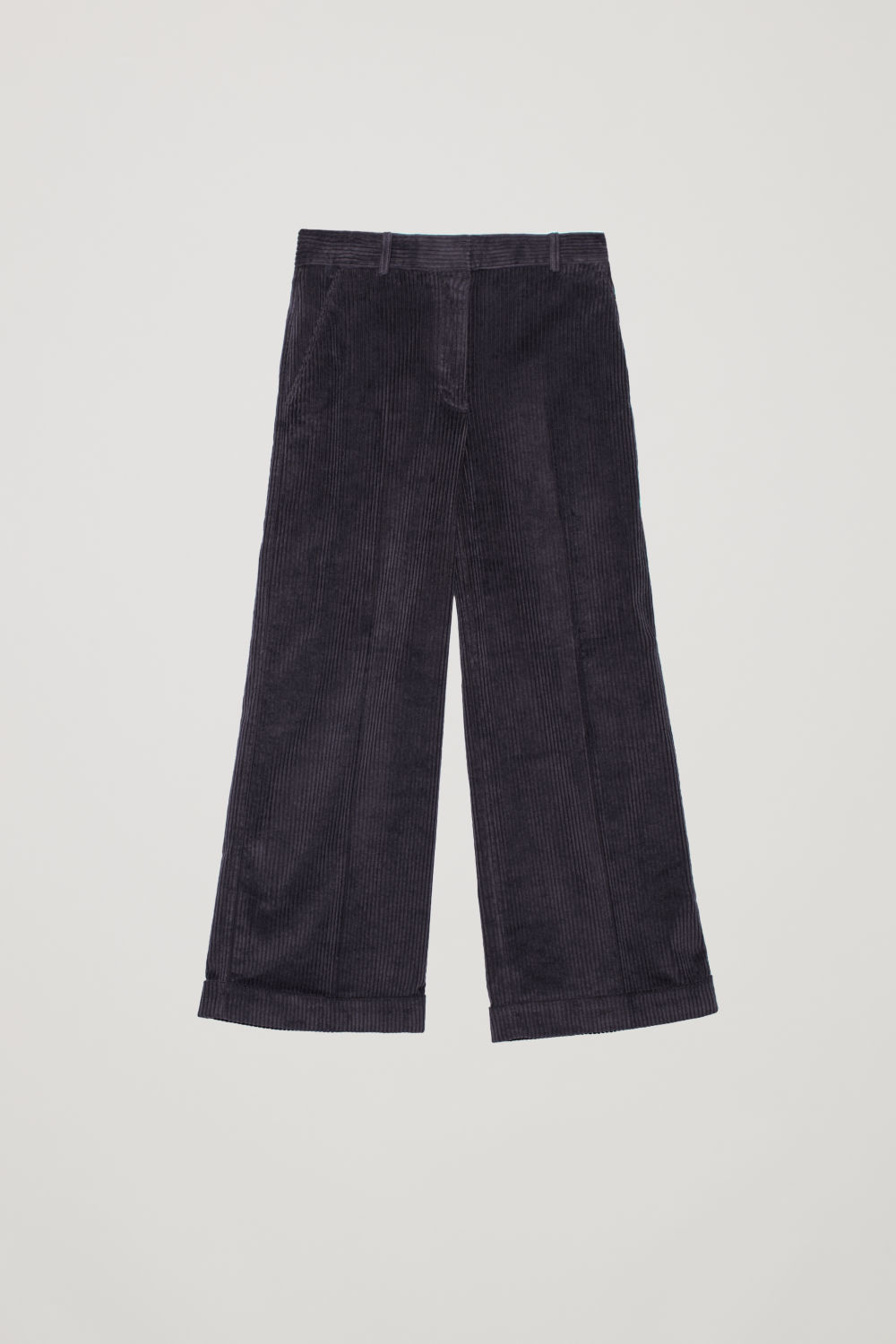 Front image of Cos relaxed turn-up corduroy trousers  in purple