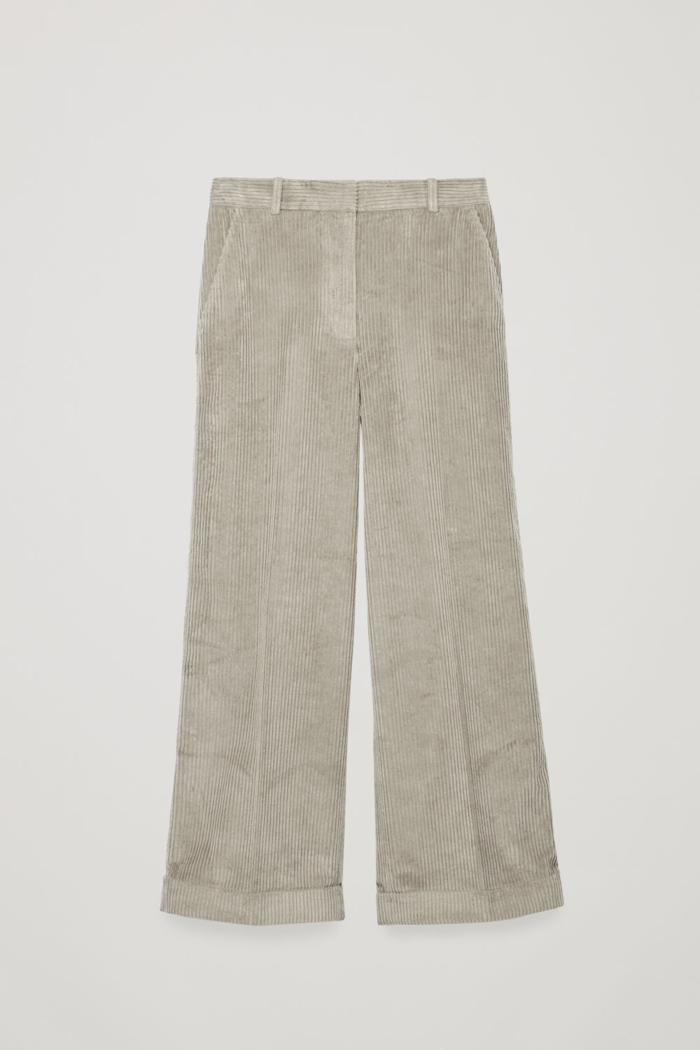 Front image of Cos relaxed turn-up corduroy trousers  in grey